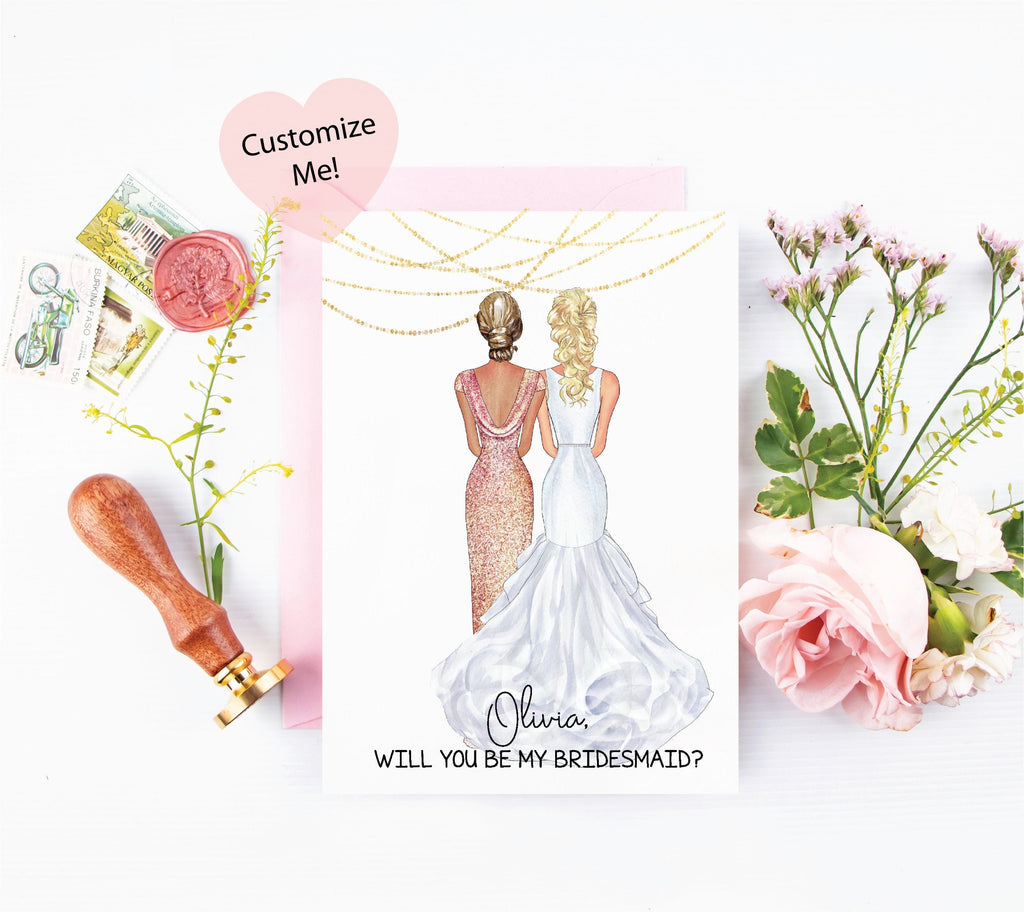 Custom portraits for bridesmaid proposal