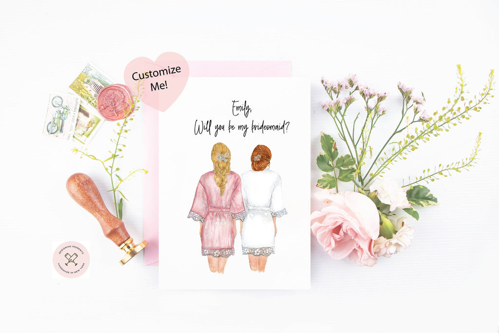 Will you be my bridesmaid? Custom portraits with robes