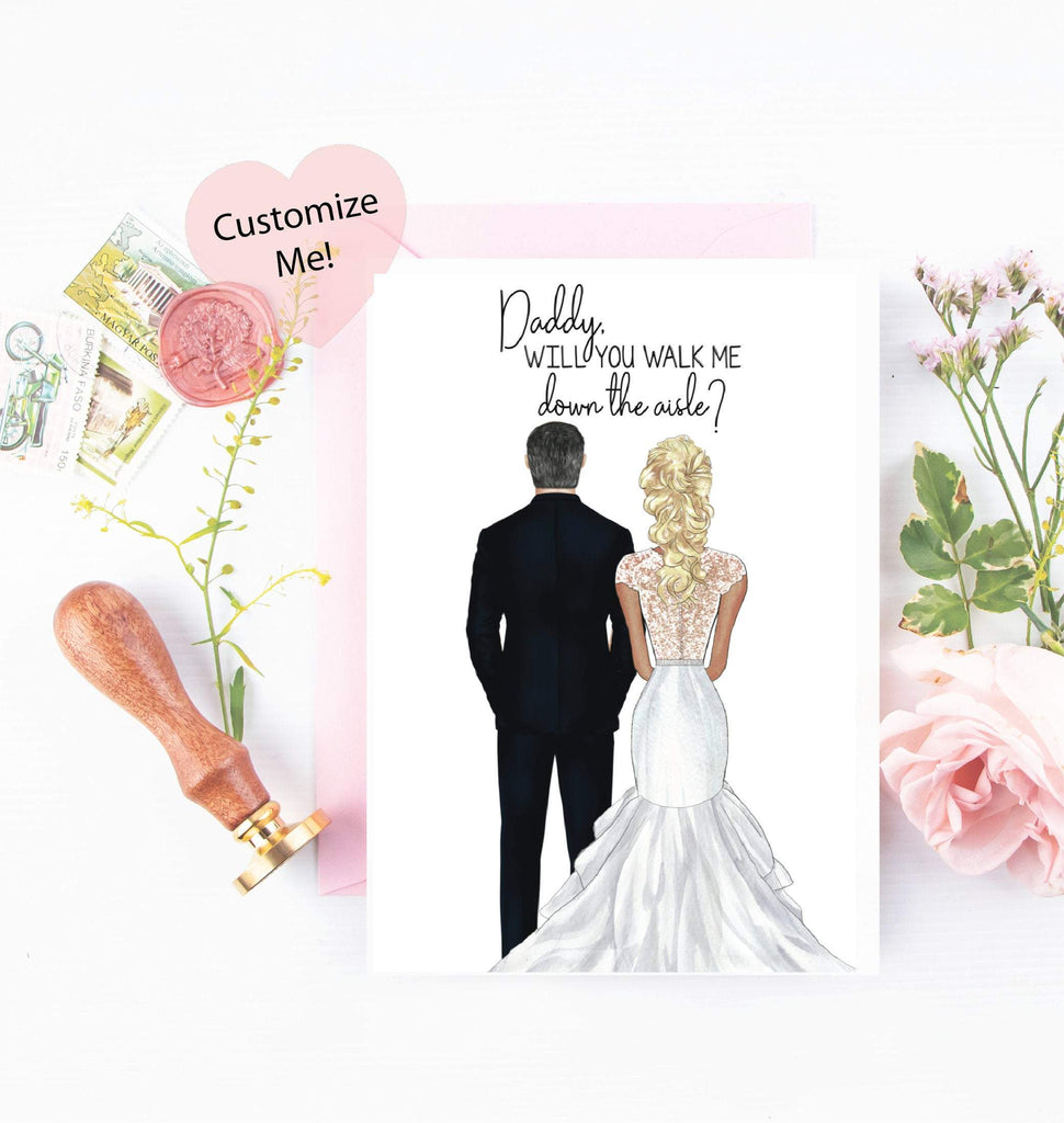 will you walk me down the aisle? sweet card for your father custom portraits