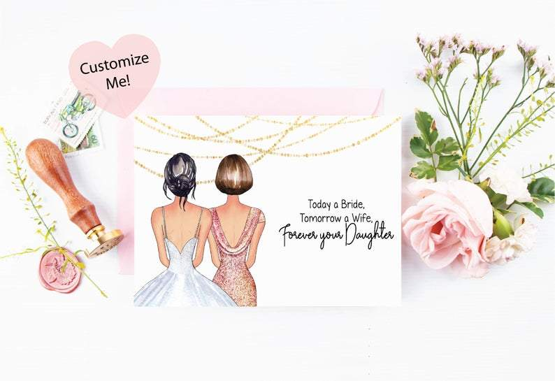 beautiful keepsake card for mom on wedding day