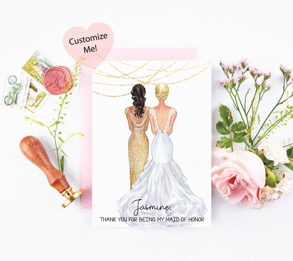 Personalized portraits wedding day cards