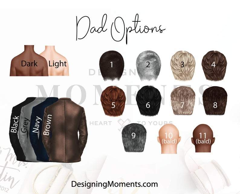 dad options for custom portrait wedding day thank you cards