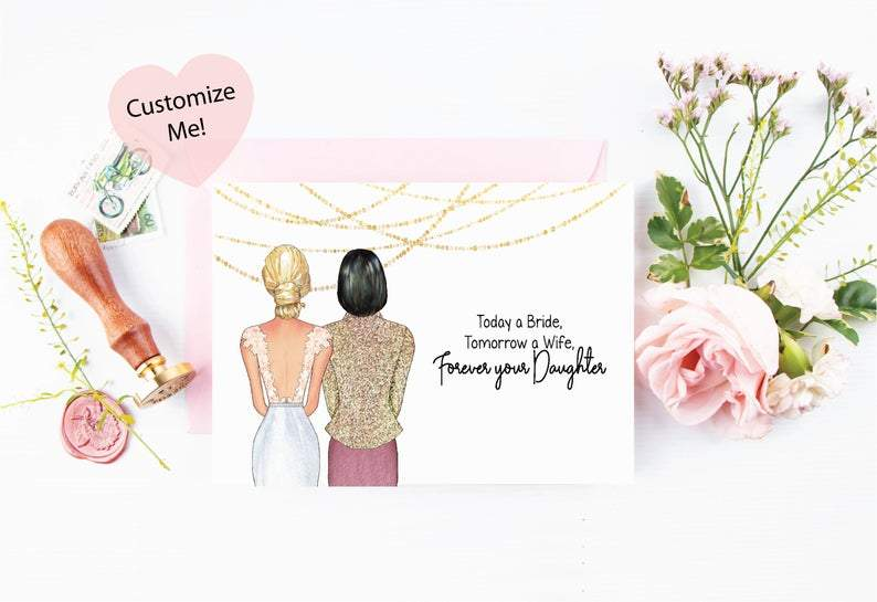 personalized customizable wedding day card for mother
