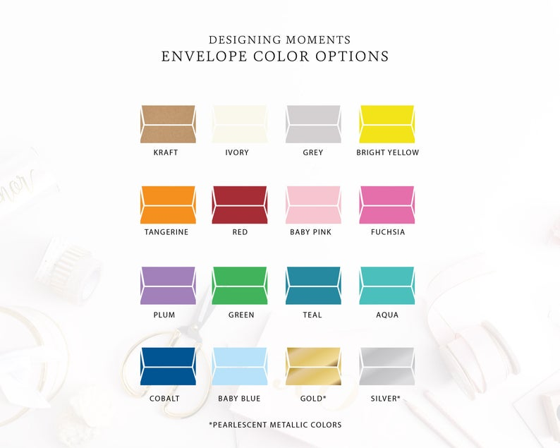 envelope color options for custom premium cards from designing moments