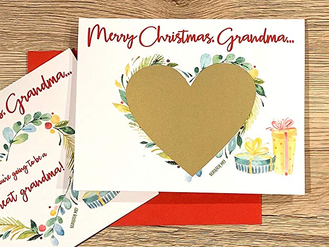 Christmas Baby Announcement Scratch Off Card for Grandma