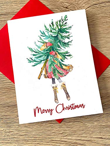 Watercolor Christmas Tree and Girl Cards