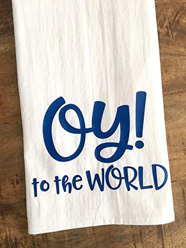 Oy to the World Hanukkah Tea Towel