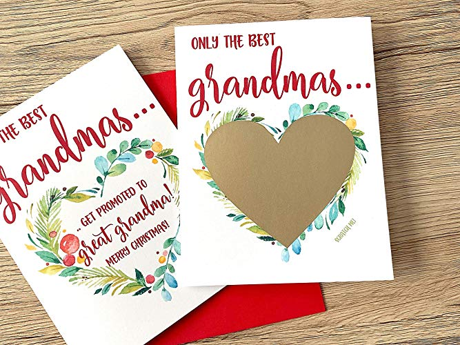 Grandpa to be Baby Reveal Peace Love and a Bundle of Joy Christmas Scratch off Card for Father Pregnancy Announcement to Dad