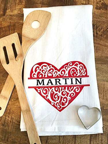 Personalized Ornate Heart Tea Towel