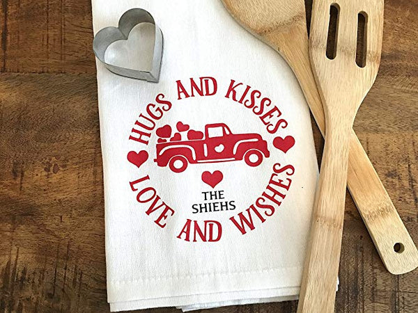 Hugs and Kisses Valentine's Day Kitchen Towel with Custom Name