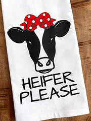 Heifer Please Cow with Red Bow Tea Towel