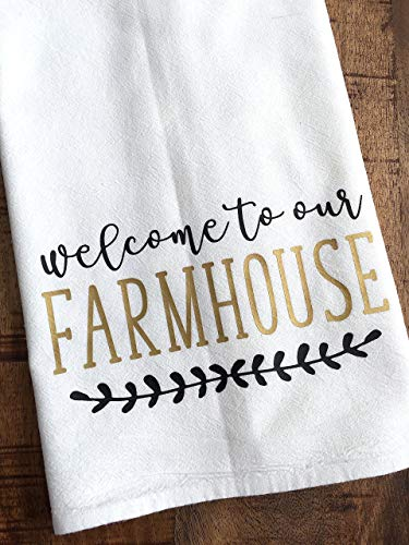 Welcome to Our Farmhouse Black and Gold Kitchen Towel