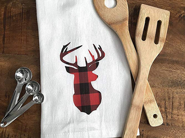 Buffalo Plaid Deer Silhouette Tea Towel