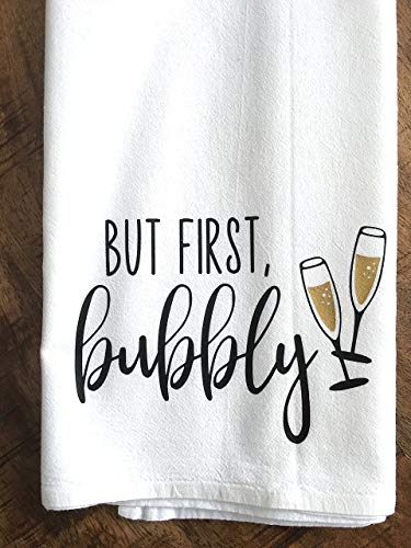 But First, Bubbly Tea Towel-Champagne