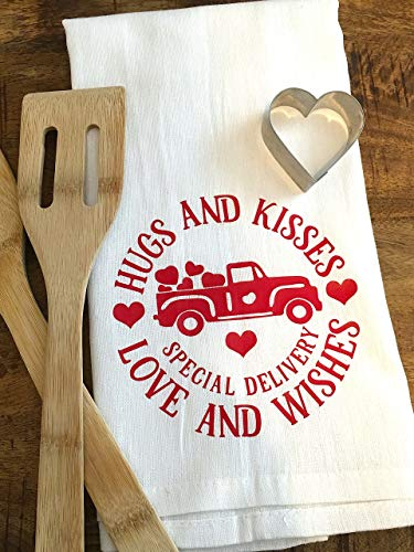 Hugs and Kisses Tea Towel