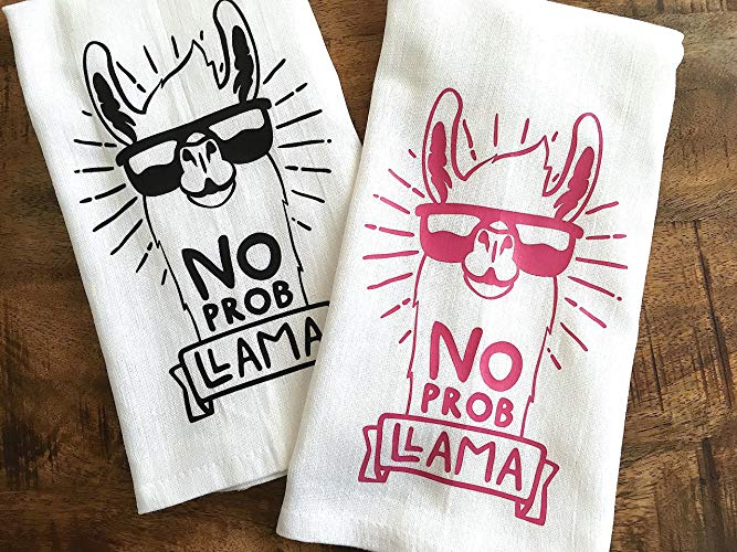 No Prob Llama Funny Kitchen Tea Towel