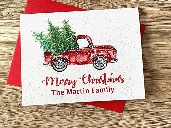 Christmas Truck and Tree Personalized Holiday Cards