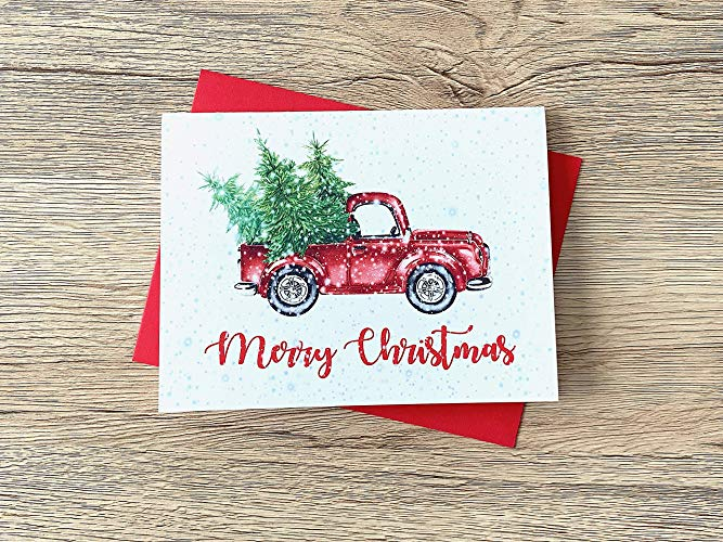 Christmas Truck and Tree Watercolor Cards