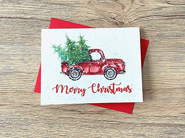 Watercolor Christmas Truck and Tree Cards