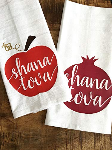 Shana Tova Tea Towels for Rose Hashanah (Set of 2)