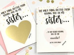 Sister Pregnancy Reveal Scratch Off Card