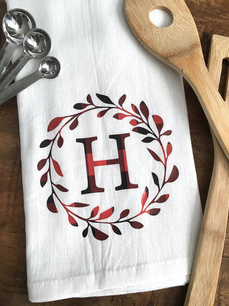 Monogrammed Tea Towel - Buffalo Plaid
