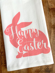Happy Easter Cute Pink Bunny Tea Towel