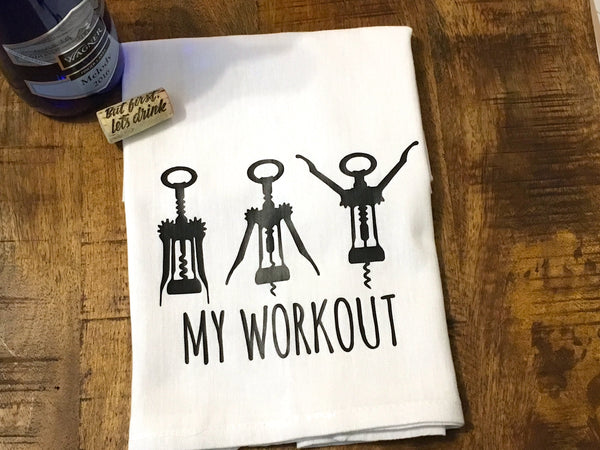 Wine Workout Funny Kitchen Towel
