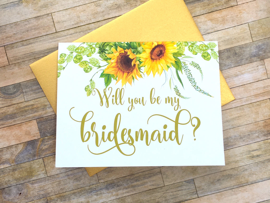 Sunflower Will You Be My Bridesmaid Proposal Card