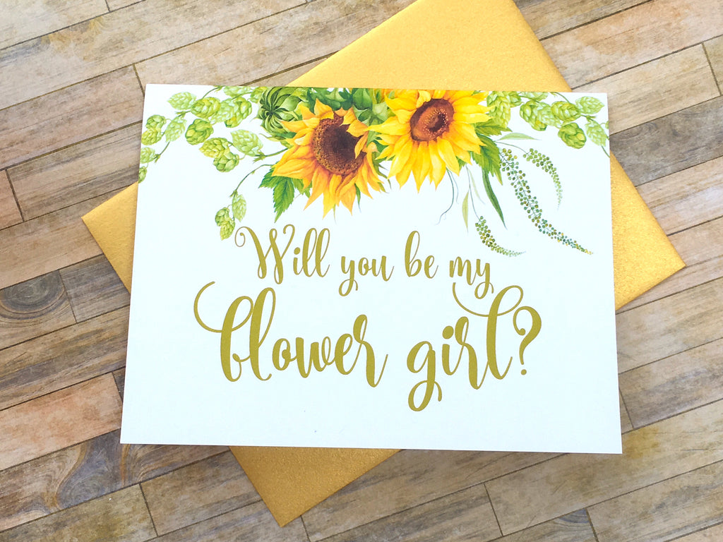 Sunflower Flower Girl Proposal Card