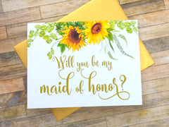 Sunflower Maid of Honor Proposal Card