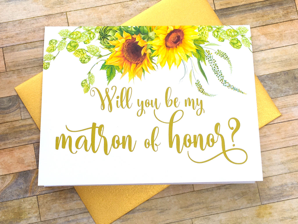 Sunflower Matron of Honor Proposal Card