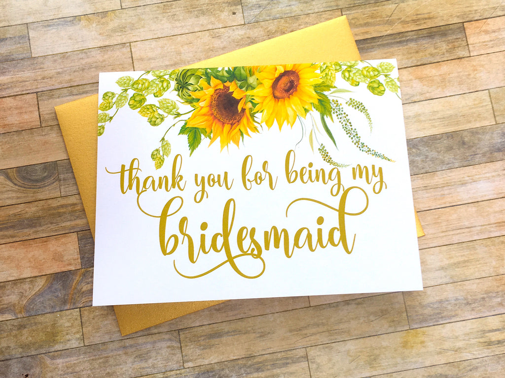 Sunflower Thank You For Being My Bridesmaid Card