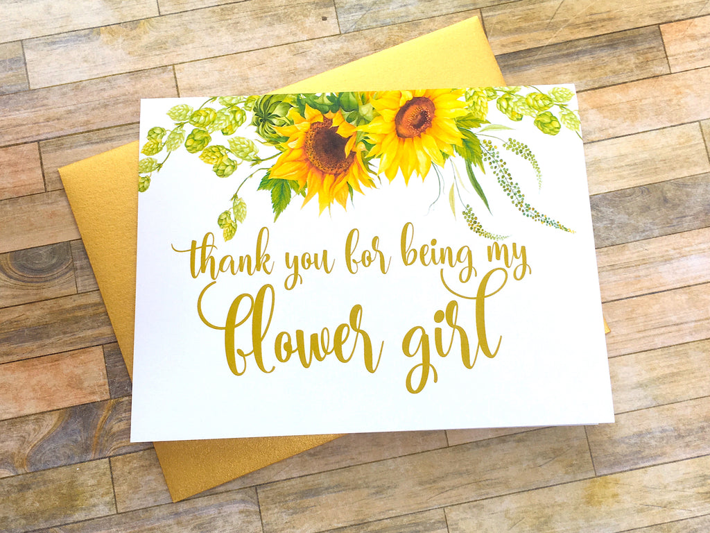 Sunflower Thank You For Being My Flower Girl Card