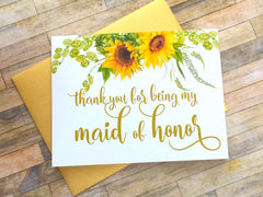 Sunflower Maid of Honor Thank You Card
