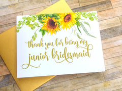 Sunflower Junior Bridesmaid Thank You Card