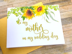 Sunflowers Card for Mother on Wedding Day