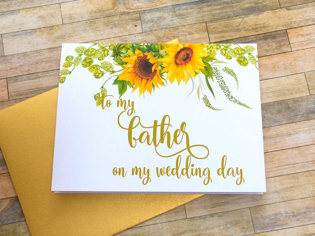 Sunflower To My Father on My Wedding Day Card
