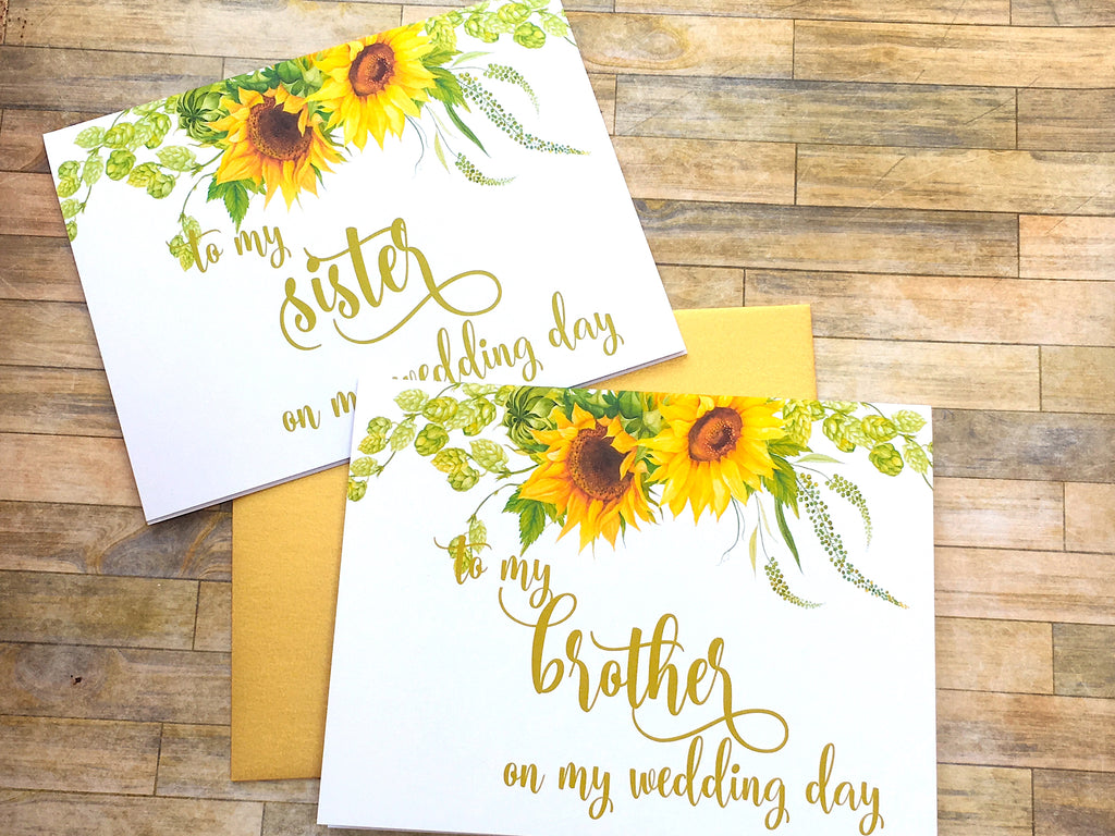 Sunflower Card for Sister on Wedding Day