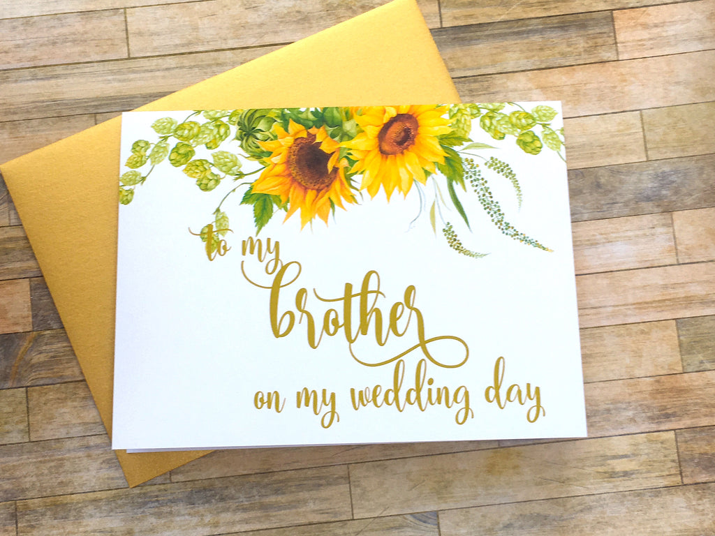 Sunflower To My Brother on My Wedding Day Card