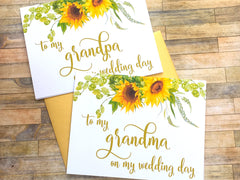 Sunflowers Grandparents Wedding Day Card