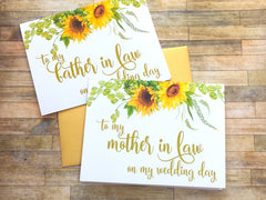Sunflower To My Mother in Law on My Wedding Day Card