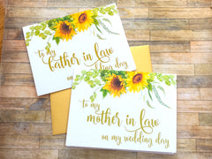 Sunflower To My Father in Law on My Wedding Day Card