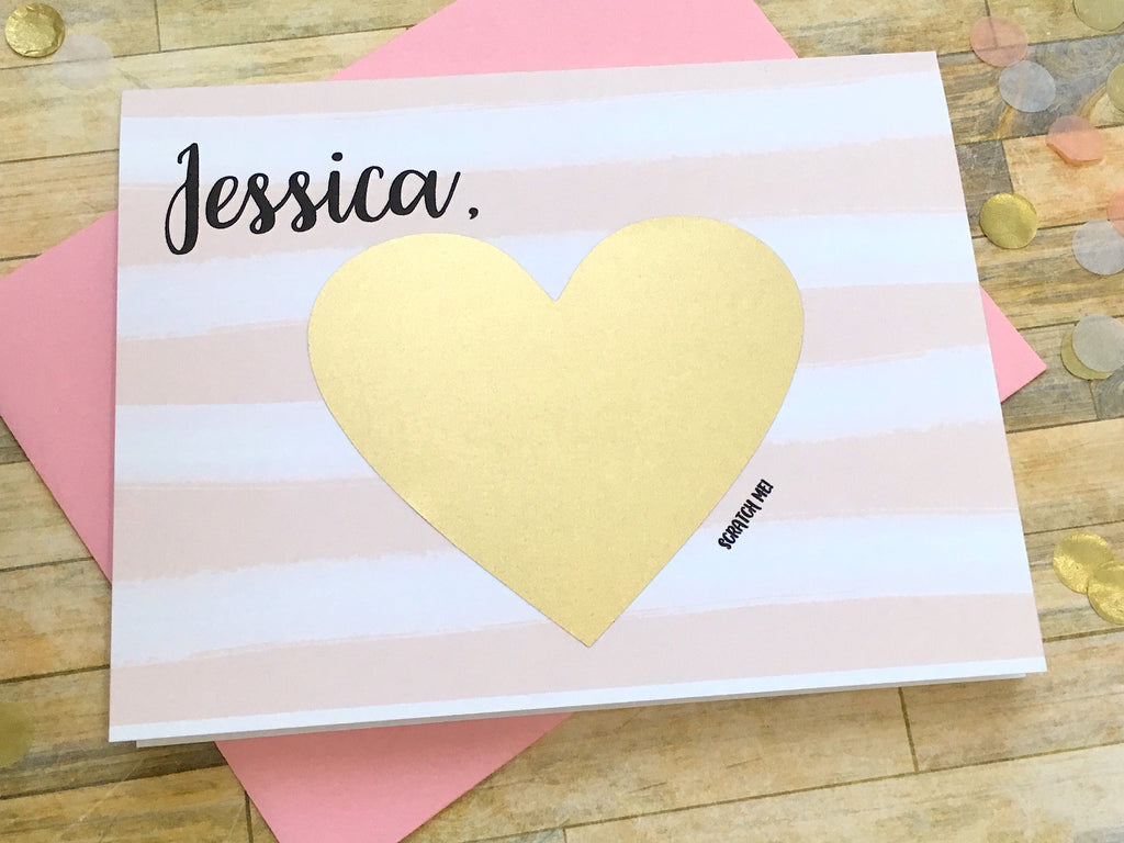 Pink Stripes Scratch Off Will You Be My Bridesmaid Card Personalized