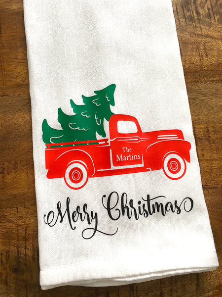 Personalized Christmas Red Truck Tea Towel
