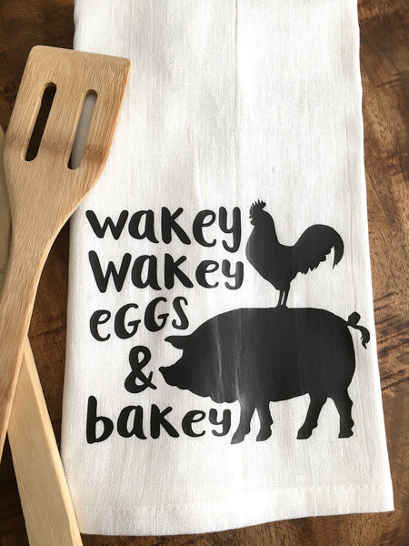 Wakey Wakey Eggs and Bakey Tea Towel