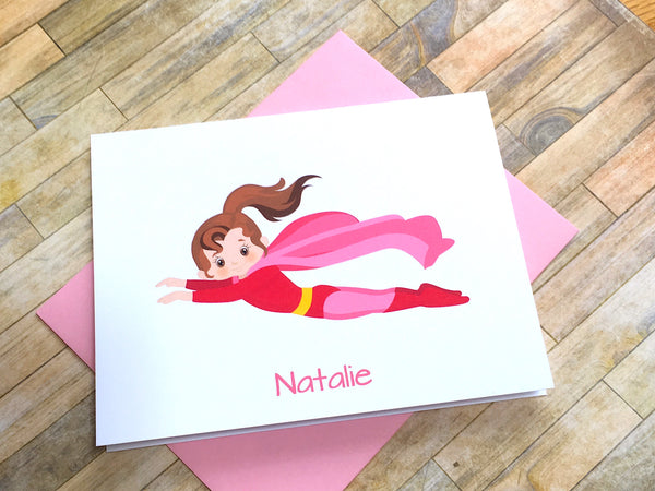 Personalized Super Girl Note Cards