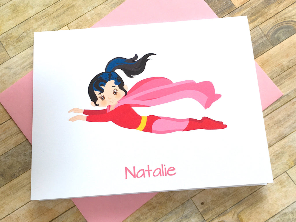 Brunette Super Girl Note Cards - Personalize Hair Color