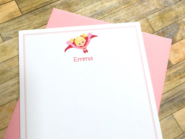 Flying Super Girl Note Cards