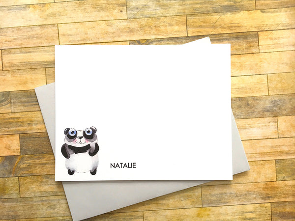Personalized Panda Flat Cards